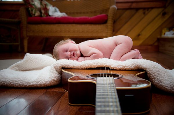 All Occasions Photography Albany NY - Newborn Photography Infant on Guitar