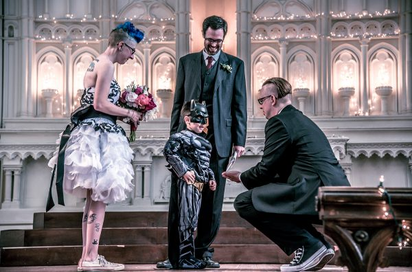 All Occasions Photography Albany NY - Wedding Photography Bride & Groom at Altar with Batman Ring Bearer