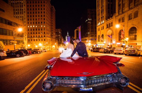 All Occasions Photography Albany NY - Wedding Photography Bride & Groom on Vintage Car in City