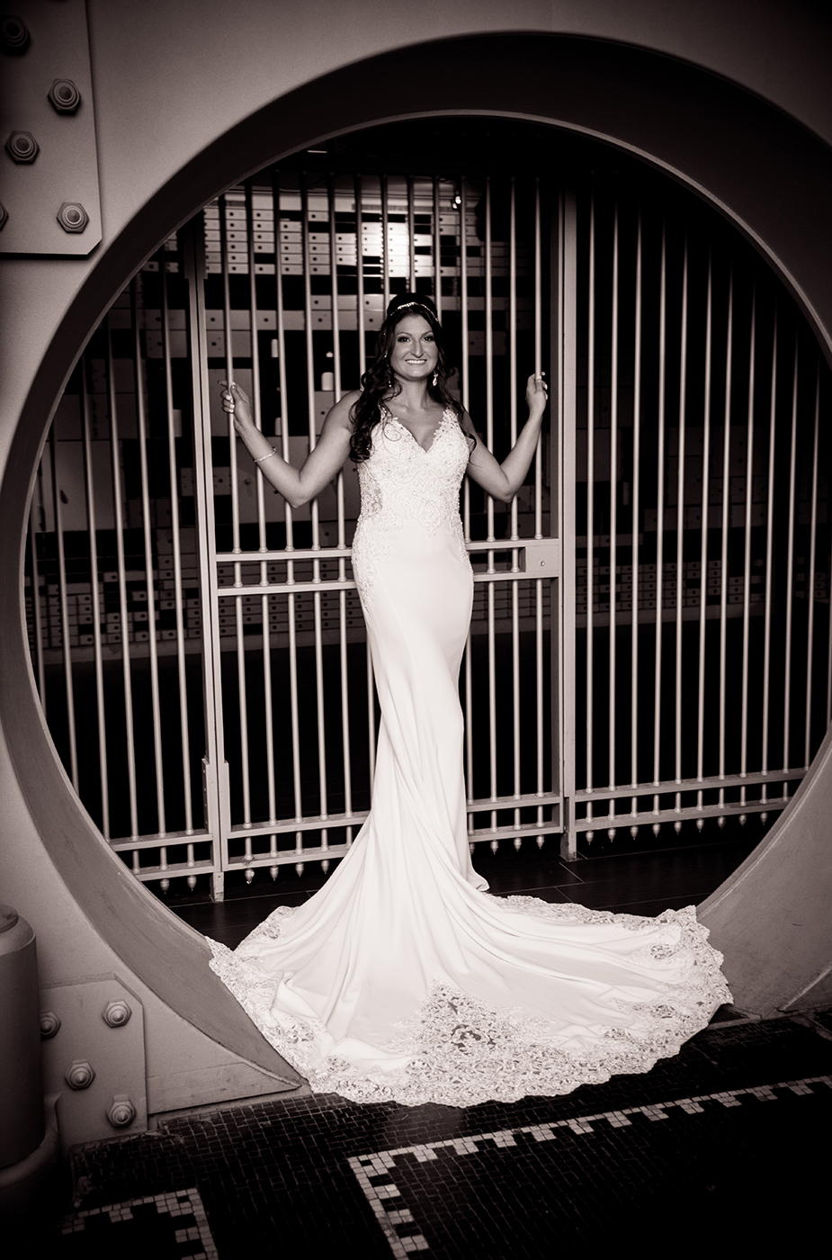 All Occasions Photography Albany NY - Wedding Photography Bride in Bank Vault