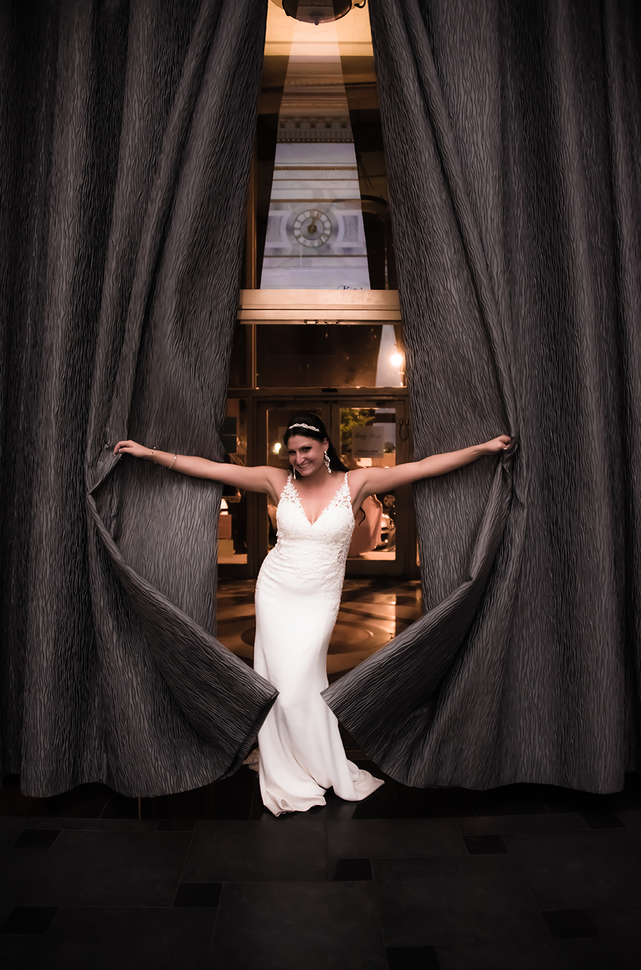All Occasions Photography Albany NY - Wedding Photography Bride Opening Long Curtains