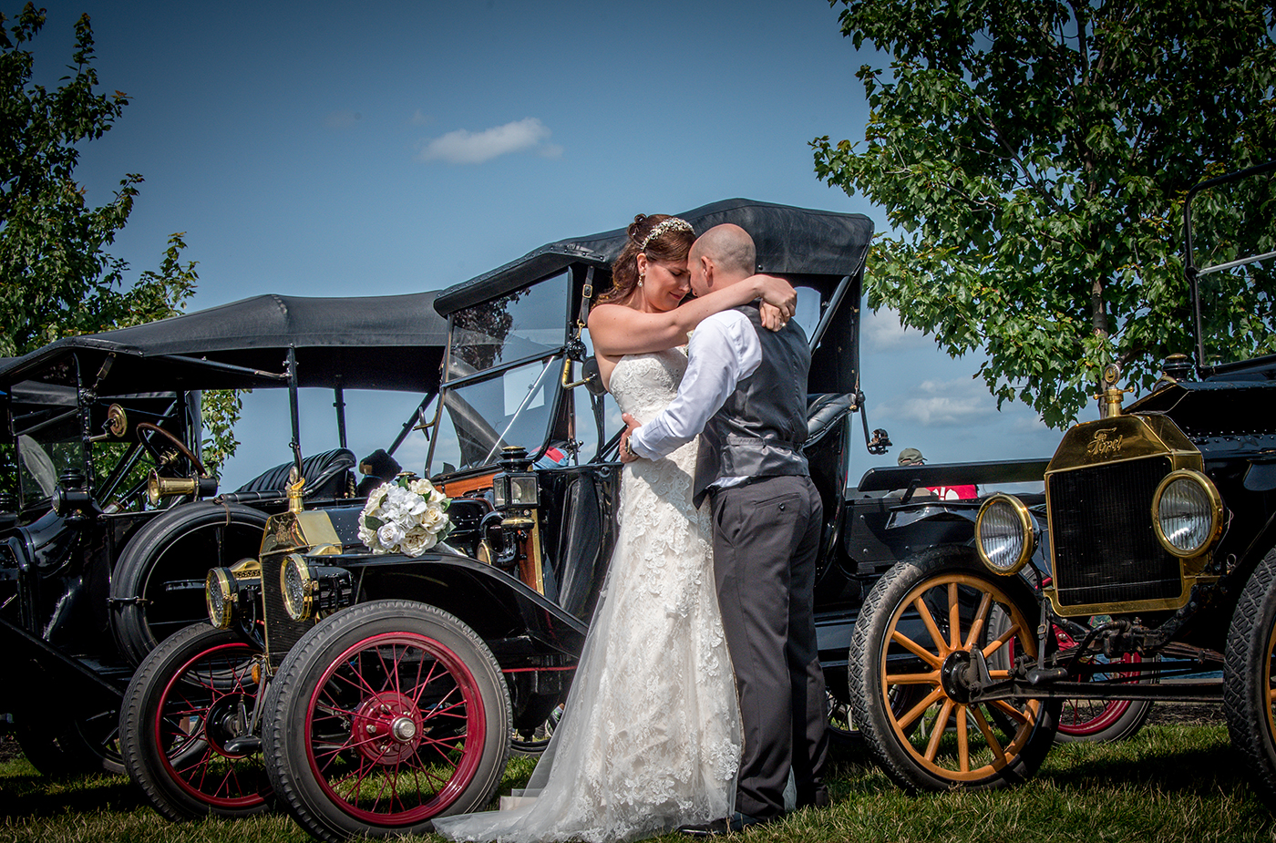 All Occasions Photography Albany NY - Wedding Photography Bride & Groom Against Vintage Car