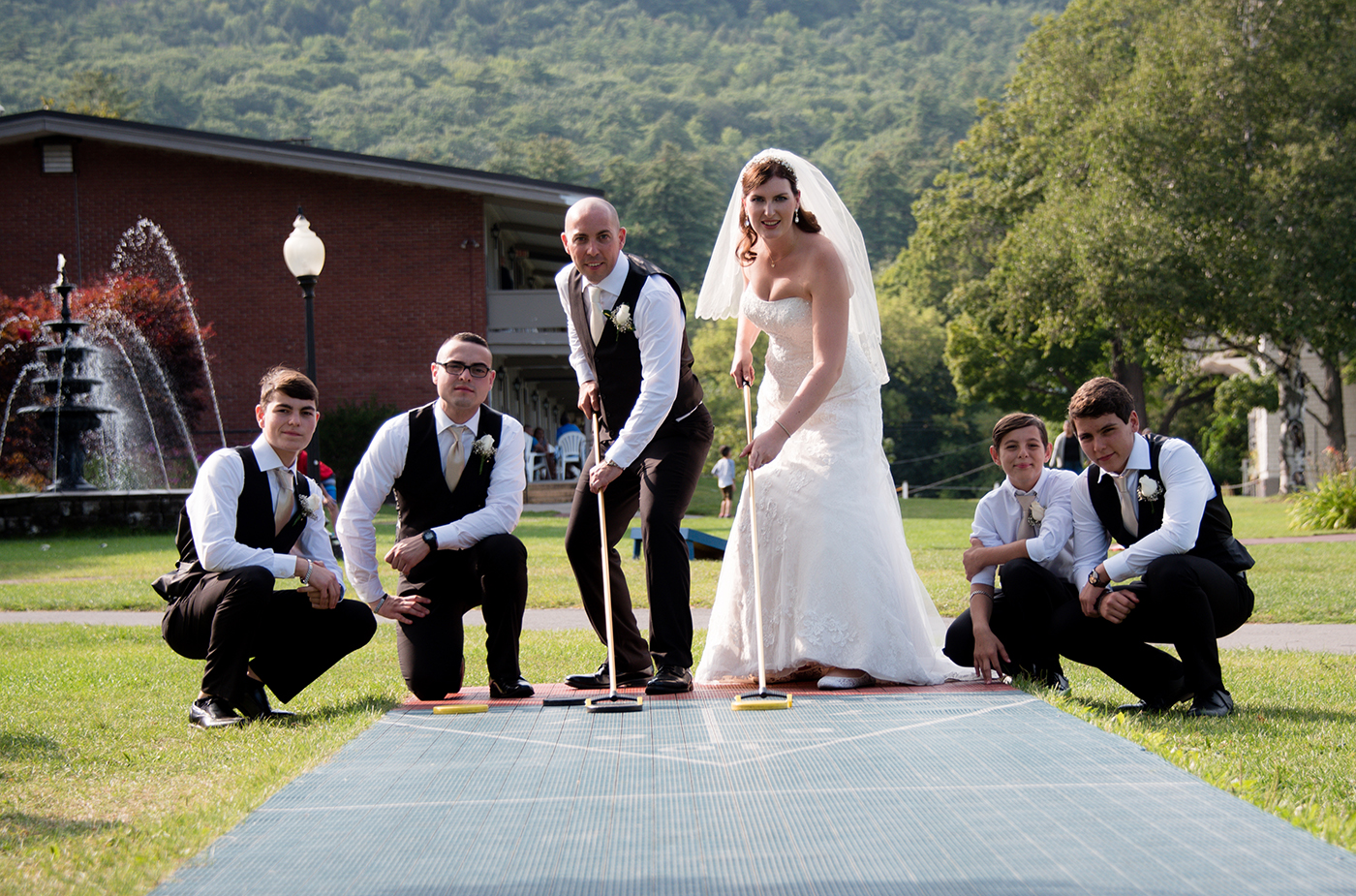 All Occasions Photography Albany NY - Wedding Photography Bride & Groom Playing Shuffleboard