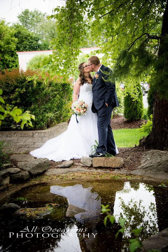All Occasions Photography Albany NY - Wedding Photography Groom Kissing Bride Reflection in Pond