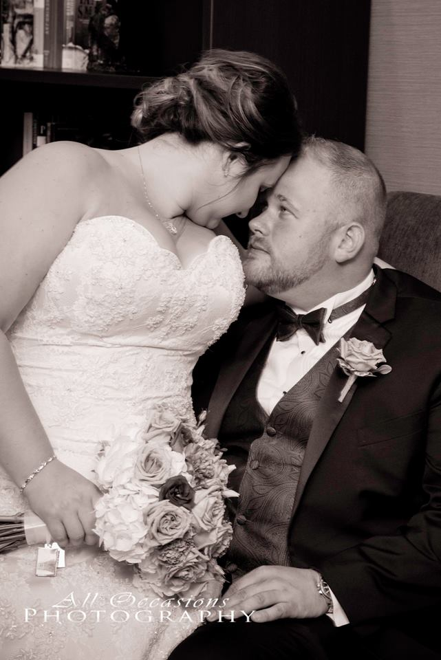 All Occasions Photography Albany NY - Wedding Photography Bride & Groom Pressing Foreheads Together in Black & White