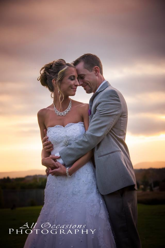 All Occasions Photography Albany NY - Wedding Photography Bride & Groom Embracing Lovingly at Sunset