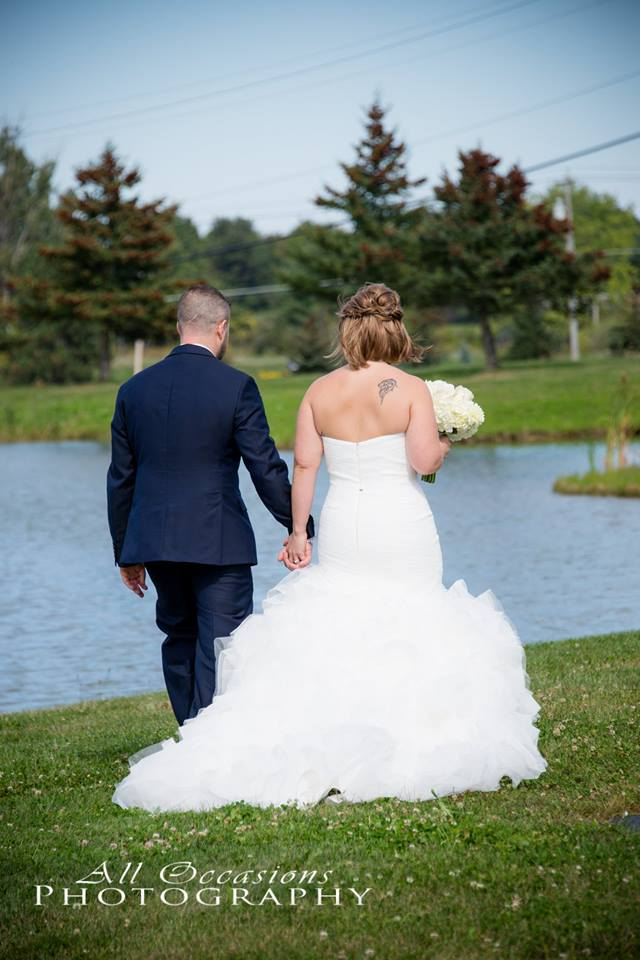 All Occasions Photography Albany NY - Wedding Photography Bride & Groom Walking Hand in Hand by Lake
