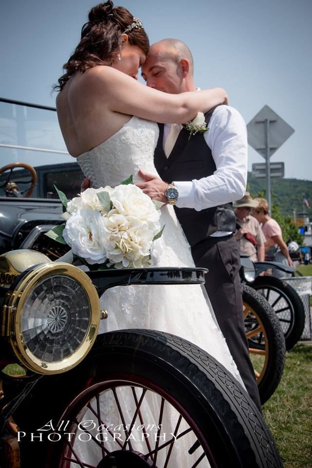 All Occasions Photography Albany NY - Wedding Photography Groom Pressing Forehead to Bride Next to Vintage Cars