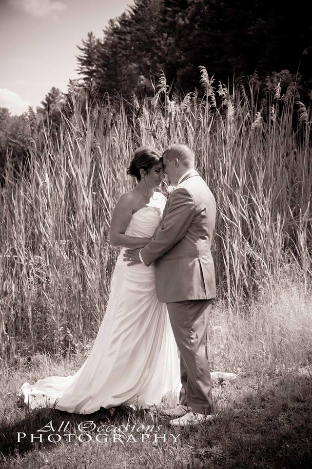 All Occasions Photography Albany NY - Wedding Photography Bride & Groom Pressing Foreheads Together in Black & White Outside in Field