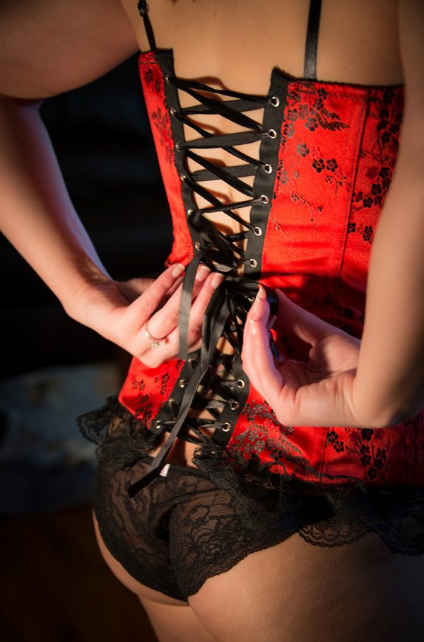 All Occasions Photography Albany NY - Boudoir Photography Lacing up Corset