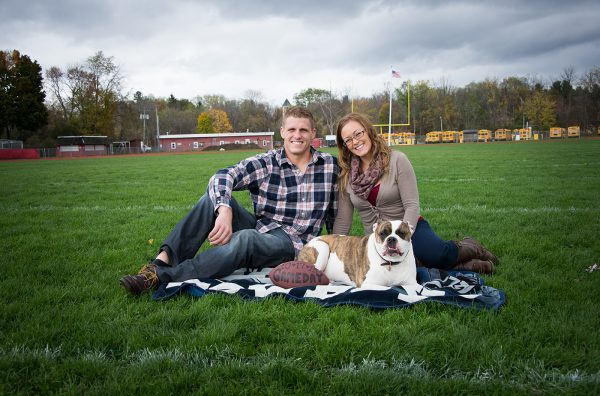 All Occasions Photography Albany NY - Engagement Photography School Football Field and Dog Shot
