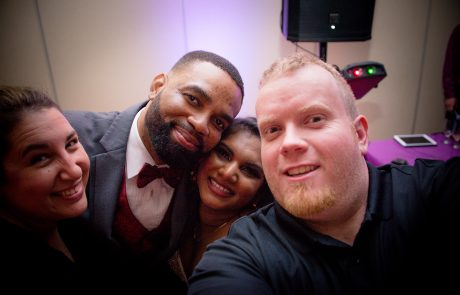 All Occasions Photography Albany NY - Wedding Photography Happy Selfie with Bride & Groom By DJ Equipment