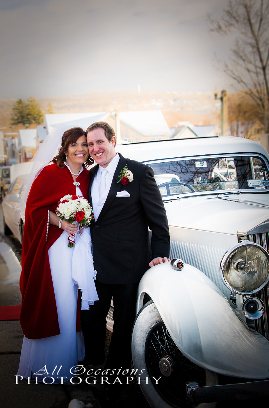 All Occasions Photography Albany NY - Wedding Photography Winter Wedding by Classic White Car