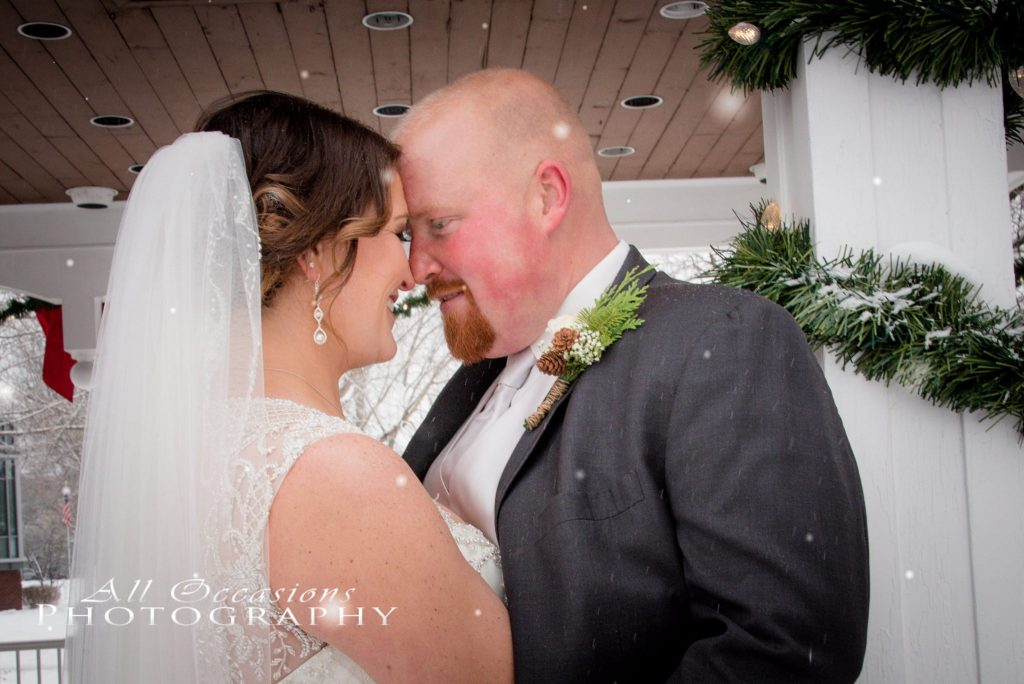 All Occasions Photography Albany NY - Wedding Photography Bride & Groom Foreheads Pressed Together Fake Snow