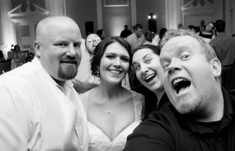 All Occasions Photography Albany NY - Wedding Photography Big Smiling Selfies With Bride & Groom Banquet Hall Black & White