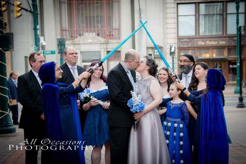 All Occasions Photography Albany NY - Wedding Photography Bride & Groom Tardis Blue Bridal Party with LightSabers