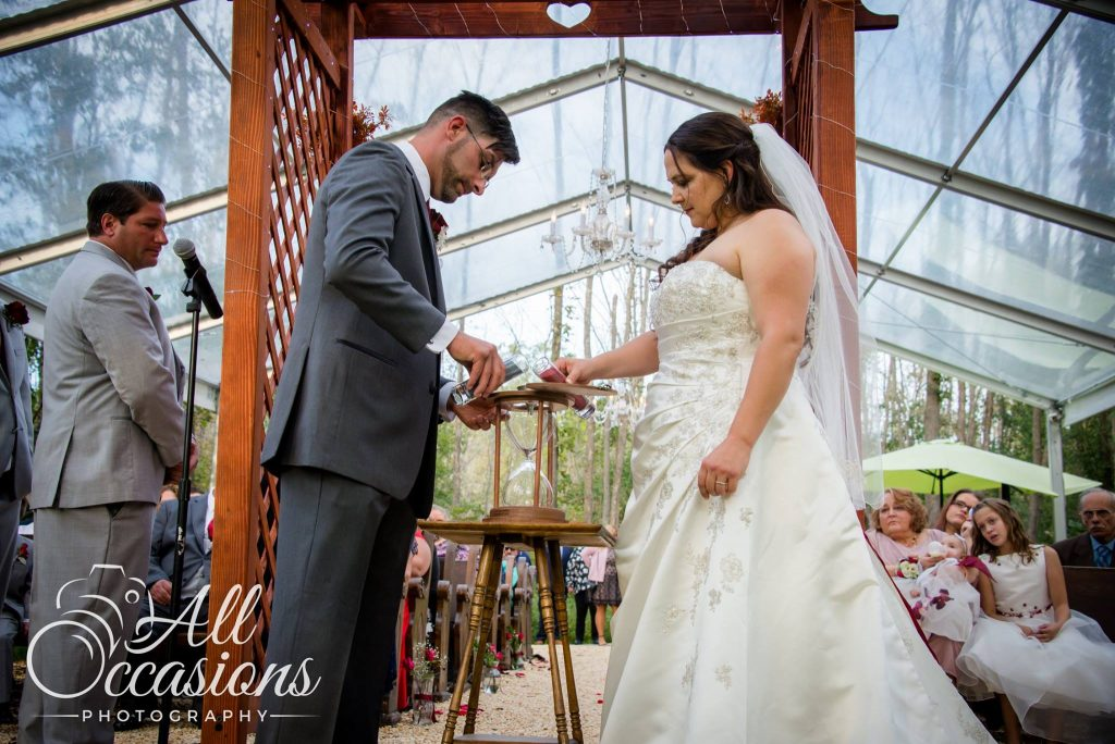 All Occasions Photography Albany NY - Wedding Photography Groom & Bride Filling Hourglass