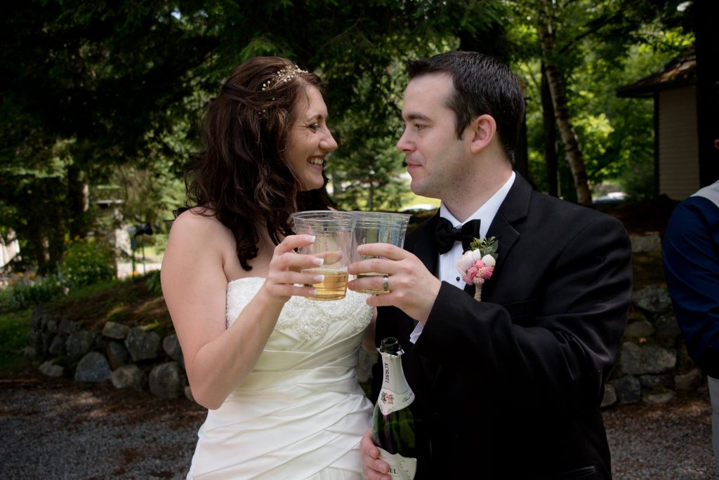 All Occasions Photography Albany NY - Wedding Photography Bride & Groom Toasting With Beer