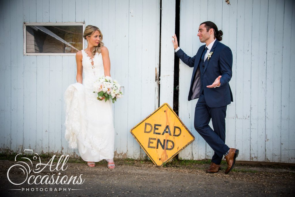 All Occasions Photography Albany NY - Wedding Photography Funny Bride & Groom With Dead End Sign