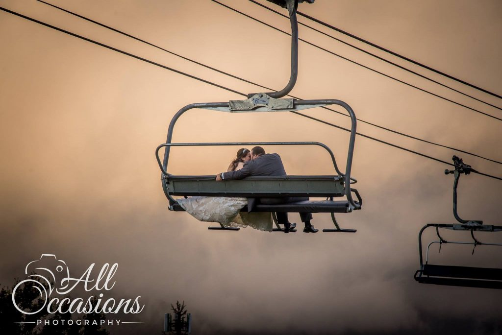 All Occasions Photography Albany NY - Wedding Photography Bride & Groom on Ski Lift