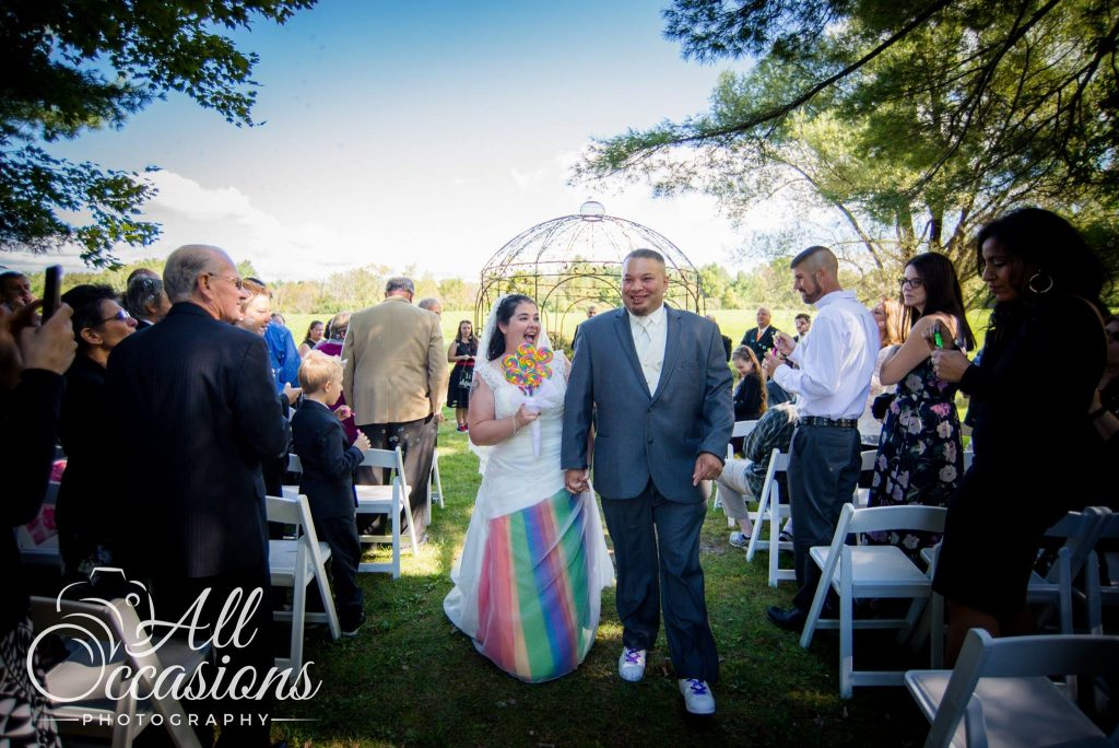 All Occasions Photography Albany NY - Wedding Photography Bride with Rainbow Dress Bottom