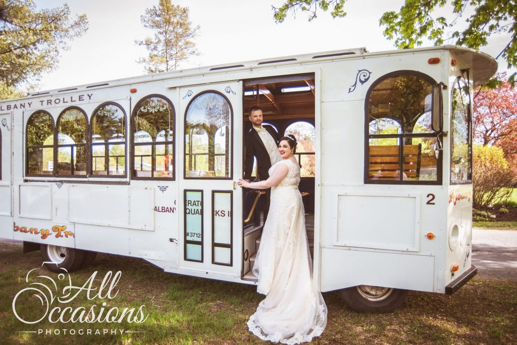 All Occasions Photography Albany NY - Wedding Photography Bride & Groom By Trolley