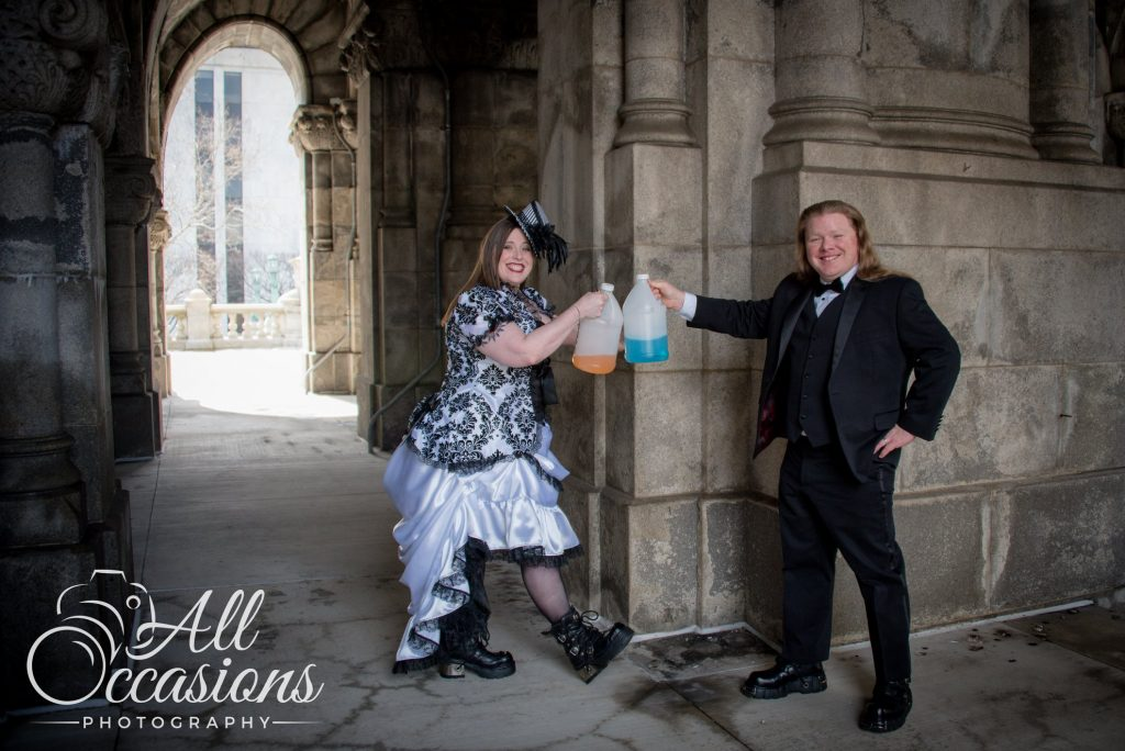 All Occasions Photography Albany NY - Wedding Photography Bride & Groom Toasting With Plastic Gallon Jugs