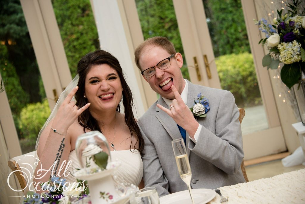 All Occasions Photography Albany NY - Wedding Photography Bride & Groom Giving Devil Horns